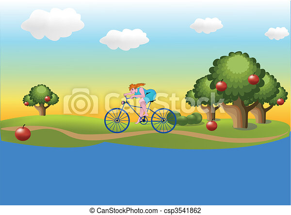 Girl on the bicycle - csp3541862
