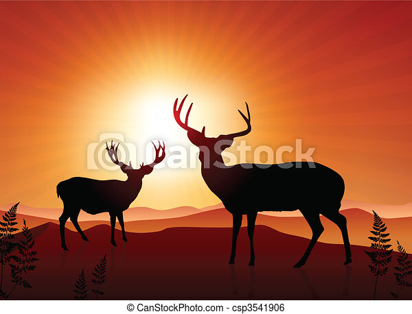 Deer on sunset background - csp3541906