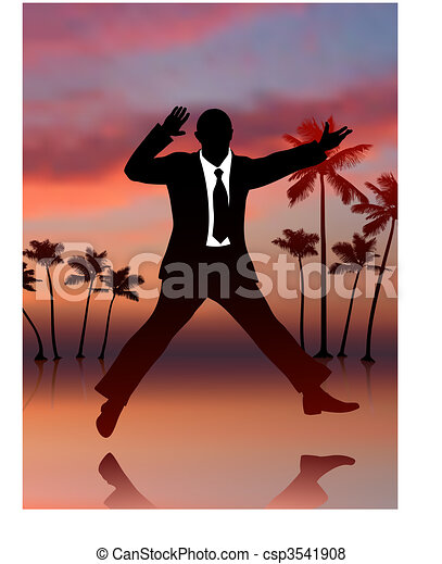 Excited Businessman on Sky Background - csp3541908