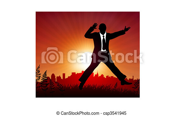 excited businessman on sunset background - csp3541945
