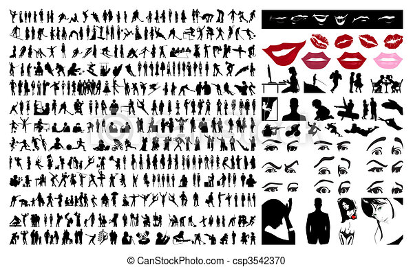 360 silhouettes of people. A vector illustration - csp3542370