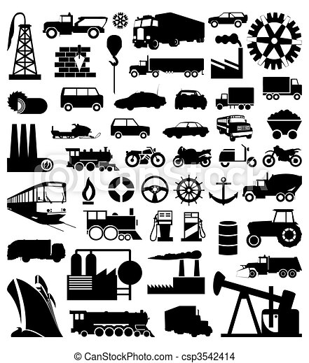 Industrial function silhouettes. A vector illustration - csp3542414