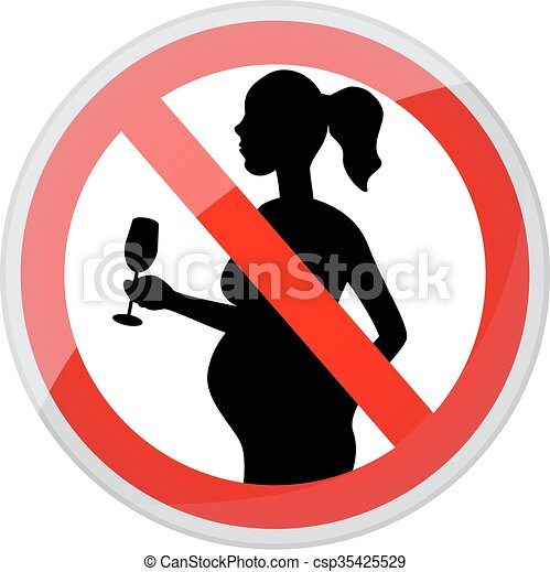 Vector Illustration of Pregnant women and alcohol - red ...
