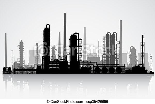 Oil refinery silhouette. Raster illustration. - csp35426696