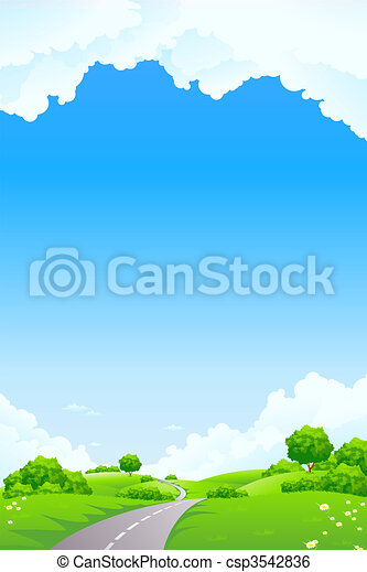 Landscape - green hill with tree road and cloudscape - csp3542836