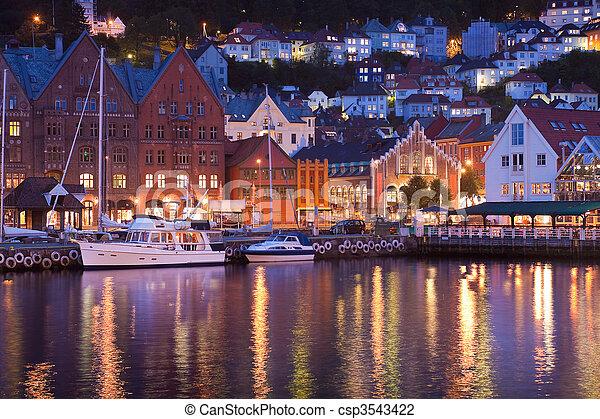Scenery of Bryggen in Bergen, Norw  - csp3543422