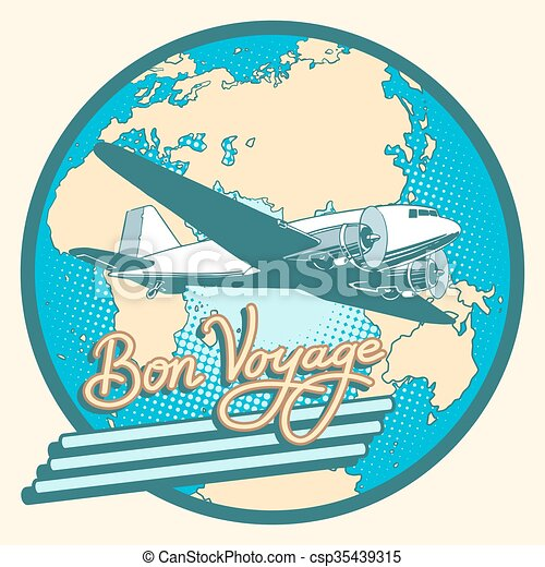 Bon voyage abstract retro plane poster - csp35439315
