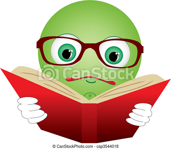 Green smiley-ball in glasses read red book, vector illustration - csp3544018