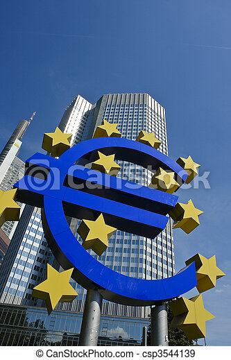 Euro symbol with European central bank, Frankfurt am Main - csp3544139