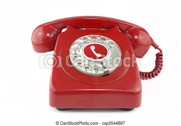 Old red 1970's telephone - csp3544897