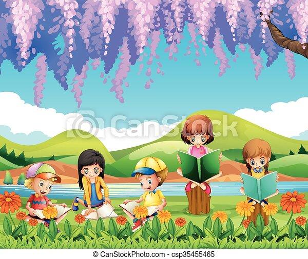 Clip Art Vector of Children reading books in the park illustration ...