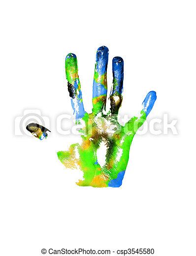 Earth handprints - csp3545580