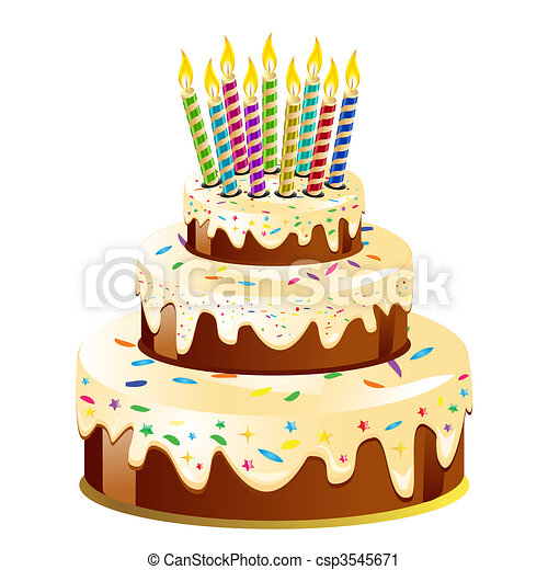 Birthday cake and candle - csp3545671