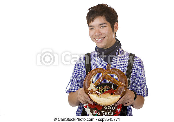 Asian holding Oktoberfest heart in camera and smiles  - csp3545771