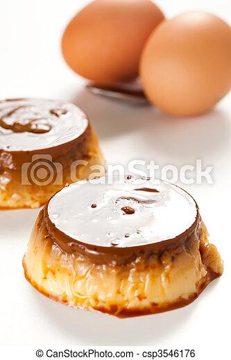 homemade egg flan with caramel - csp3546176