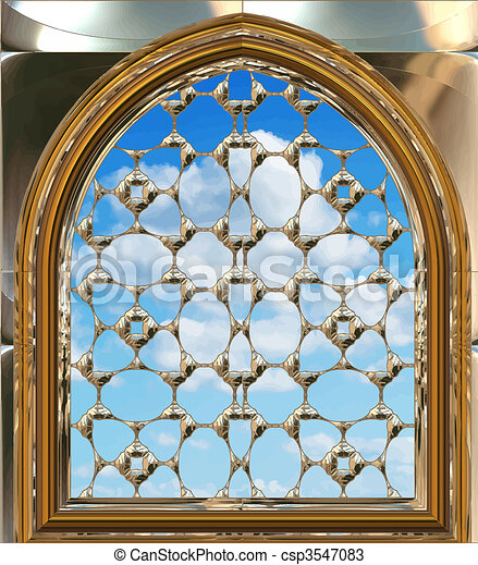 gothic or scifi window with blue sky - csp3547083