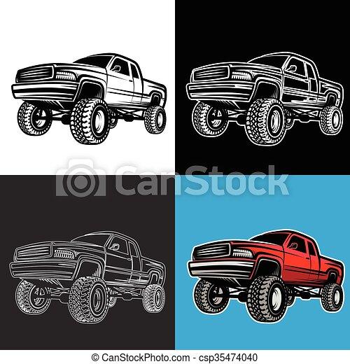 Vecteur EPS de voiture, pick-up, 4x4, camion, de-route ...