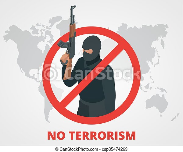 No terrorism. Stop terror sign anti terrorism campaign badge on world map. Flat 3d illustration. - csp35474263