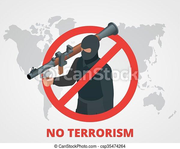 Clip Art Vector of No terrorism. Stop terror sign anti ...  No