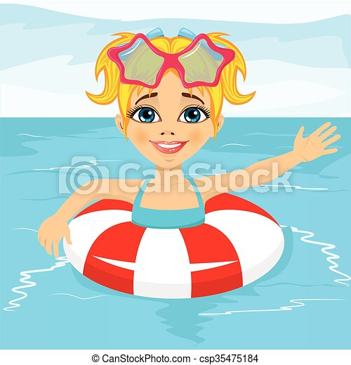 Vector of cute little girl swimming in pool with inflatable ring csp35475184 search clip How to draw swimming pool water