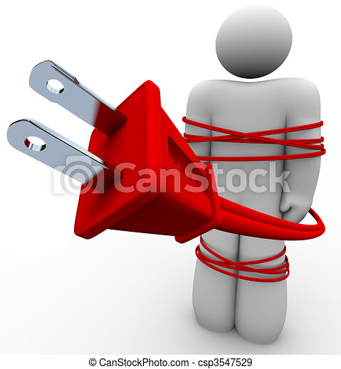 Electric Addiction - Cord Tied Around Person - csp3547529