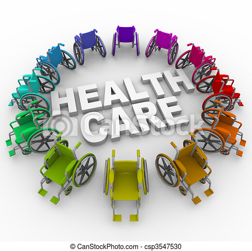 Wheelchairs in Ring Around Health Care Words - csp3547530
