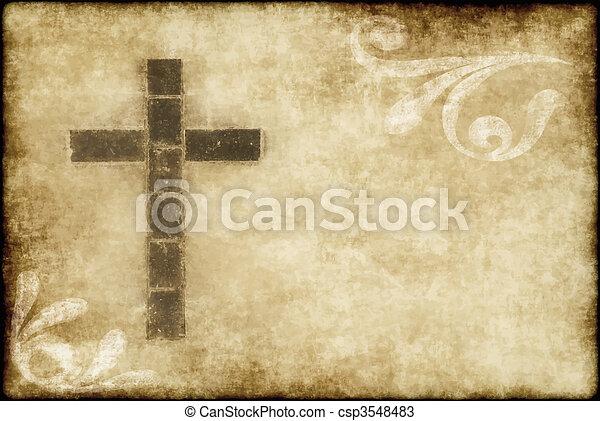 christian cross on parchment - csp3548483