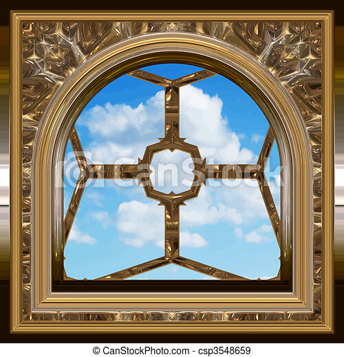 gothic or scifi window with blue sky - csp3548659
