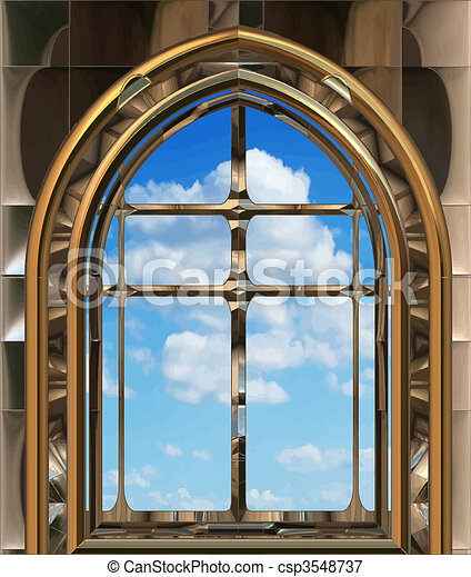 gothic or scifi window with blue sky - csp3548737