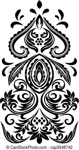classic scroll floral emblem - csp3548742
