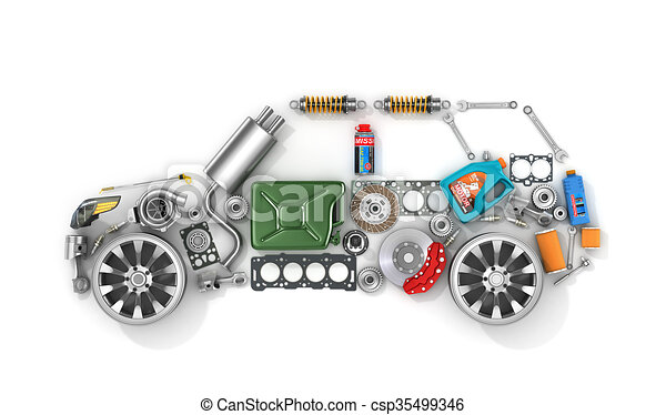 Auto parts in form of car . To use in the advertising of spare parts for passenger and sports cars. - csp35499346