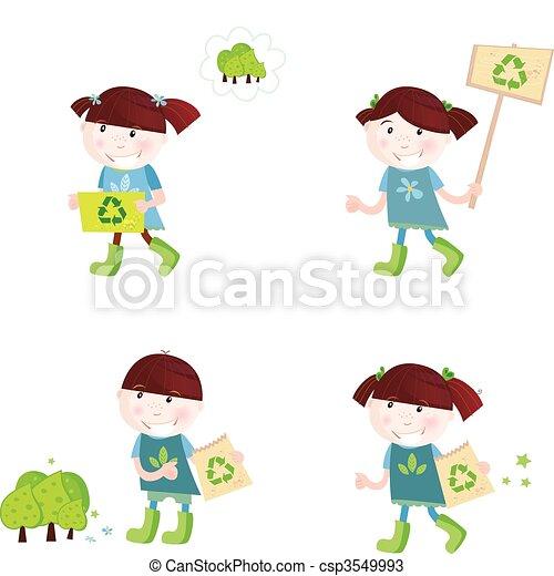 School children support recycling - csp3549993