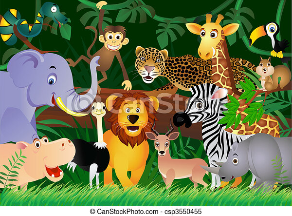 Cute animal cartoon in the jungle - csp3550455