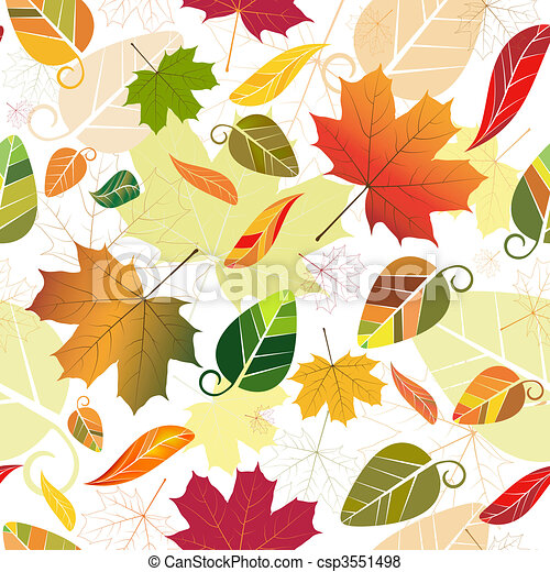 Floral seamless autumn pattern (vec - csp3551498