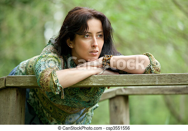 beautiful pensive woman - csp3551556