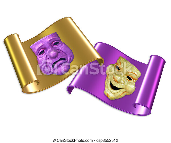 Comedy and tragedy masks  - csp3552512