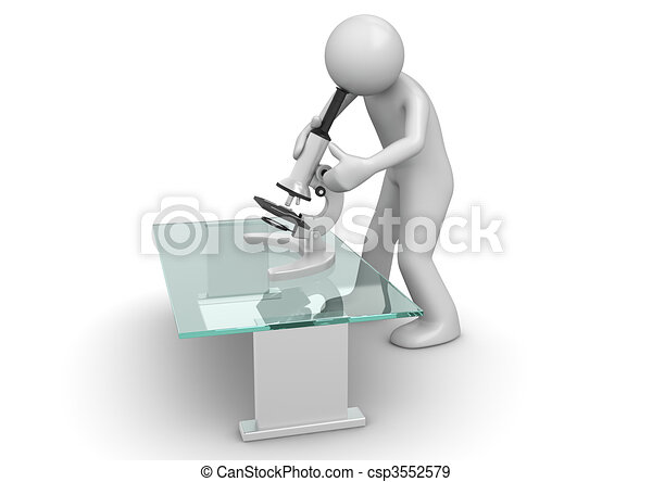 Scientist with microscope - csp3552579