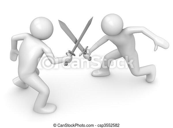 Competitors crossing swords - csp3552582