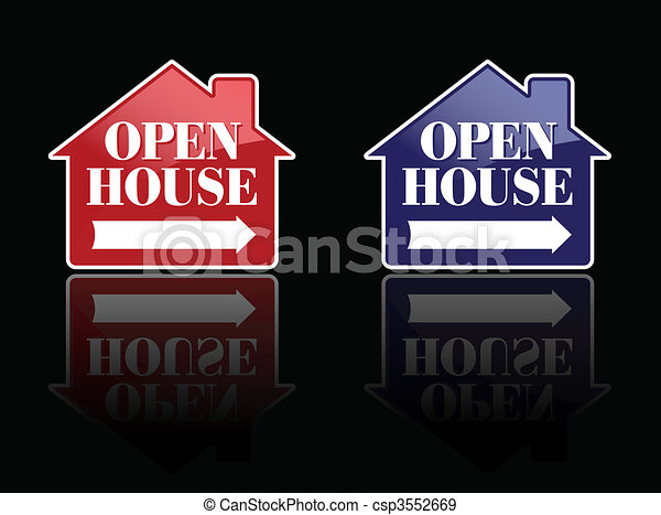 Red and Blue Open House Signs - csp3552669