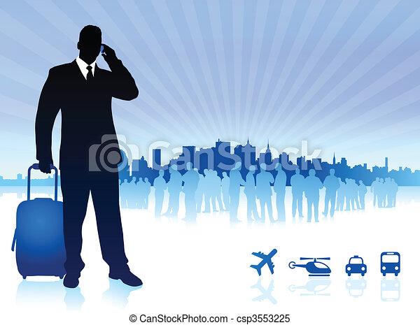 businessman traveler with city skyline - csp3553225