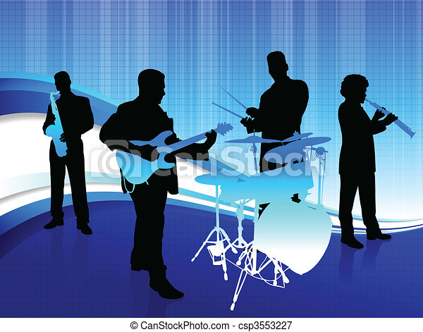 Musical Band on Abstract Blue Background - csp3553227