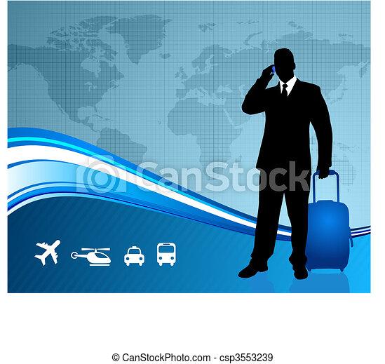 Businessman traveler with world map background - csp3553239