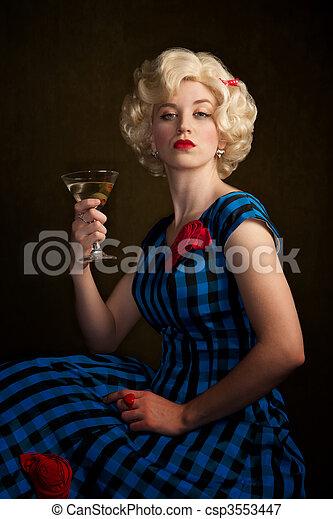 Pretty Retro Blonde Woman with Martini - csp3553447