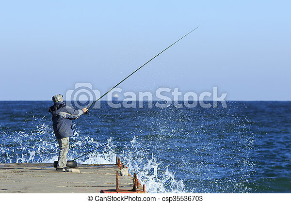 Fishing in stormy weather - csp35536703