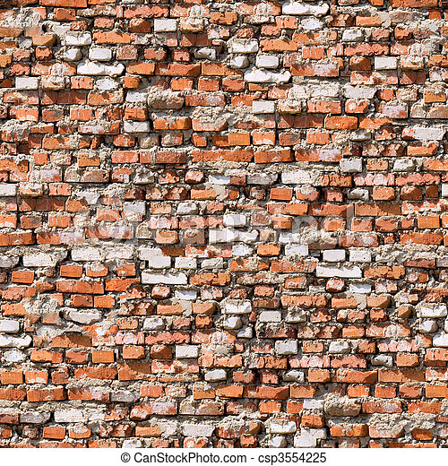Red brickwork seamless background. - csp3554225
