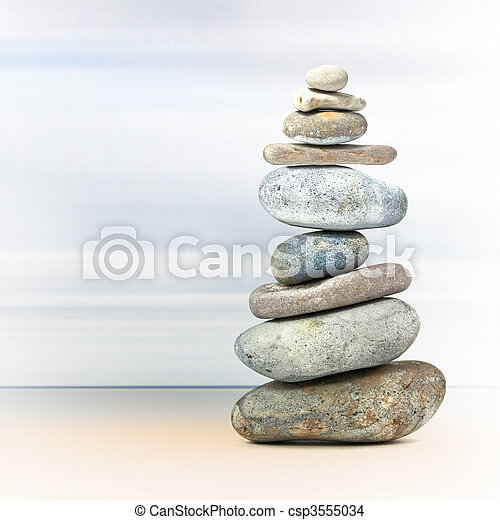 Balance tower of spa rocks - csp3555034