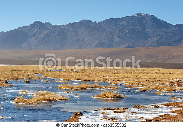 Frozen lake in Atacama Altiplano, Chile - csp3555302