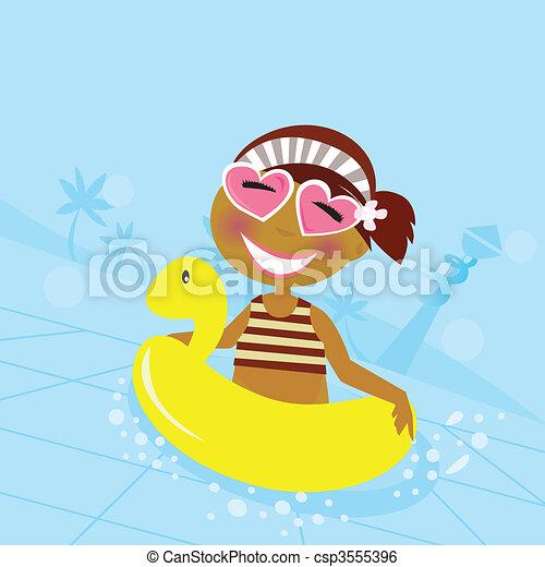 Clip art vecteur de eau piscine enfant mignon girl - Clipart piscine ...