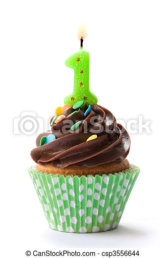 First birthday cupcake - csp3556644