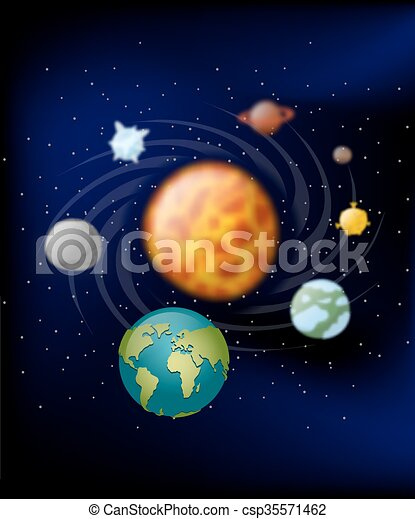 Clip Art Vector of Planets of solar system. Moon and Earth ...